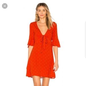 Free People All Yours Flame Red Dot Dress